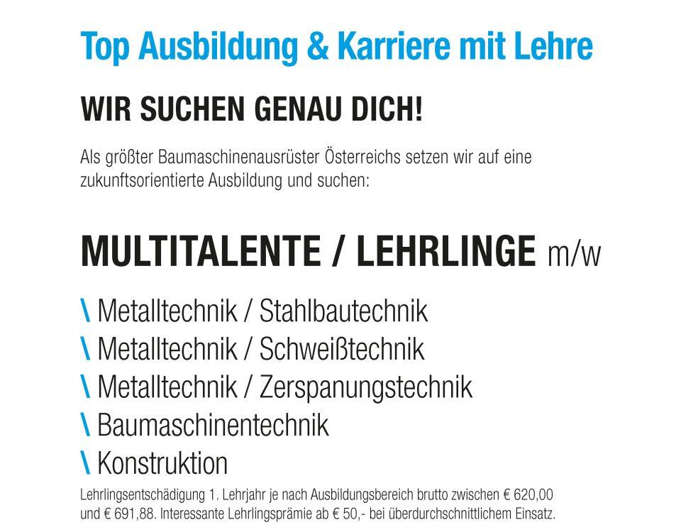 Winkelbauer GmbH, Baumaschinenausrüstung, Lehrlinge, Stahlbautechnik, Schweißtechnik, Zerspanungstechnik, Baumaschinentechnik, Konstruktion
