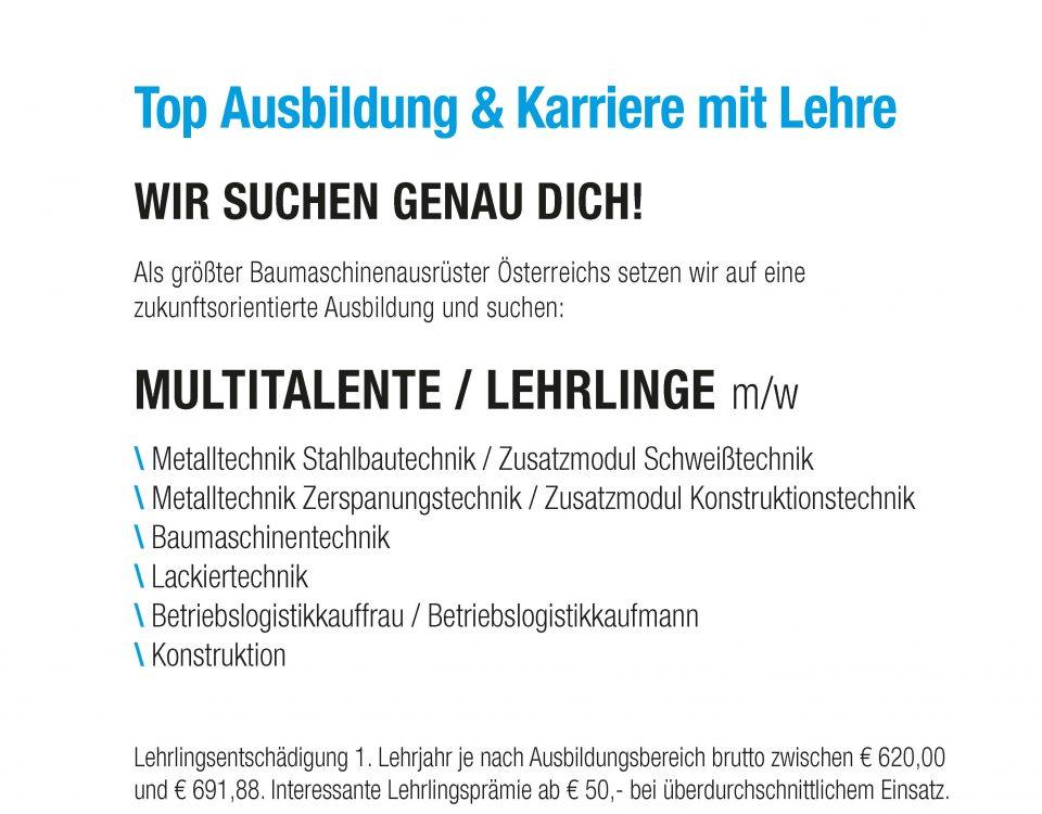 Winkelbauer GmbH, Baumaschinenausrüstung, Anbaugeräte, Lehrlingsausbildung, Multitalent