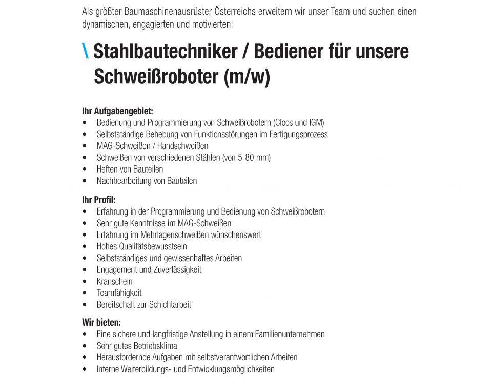 Winkelbauer GmbH, Stahlbautechniker, Bediener Schweißroboter