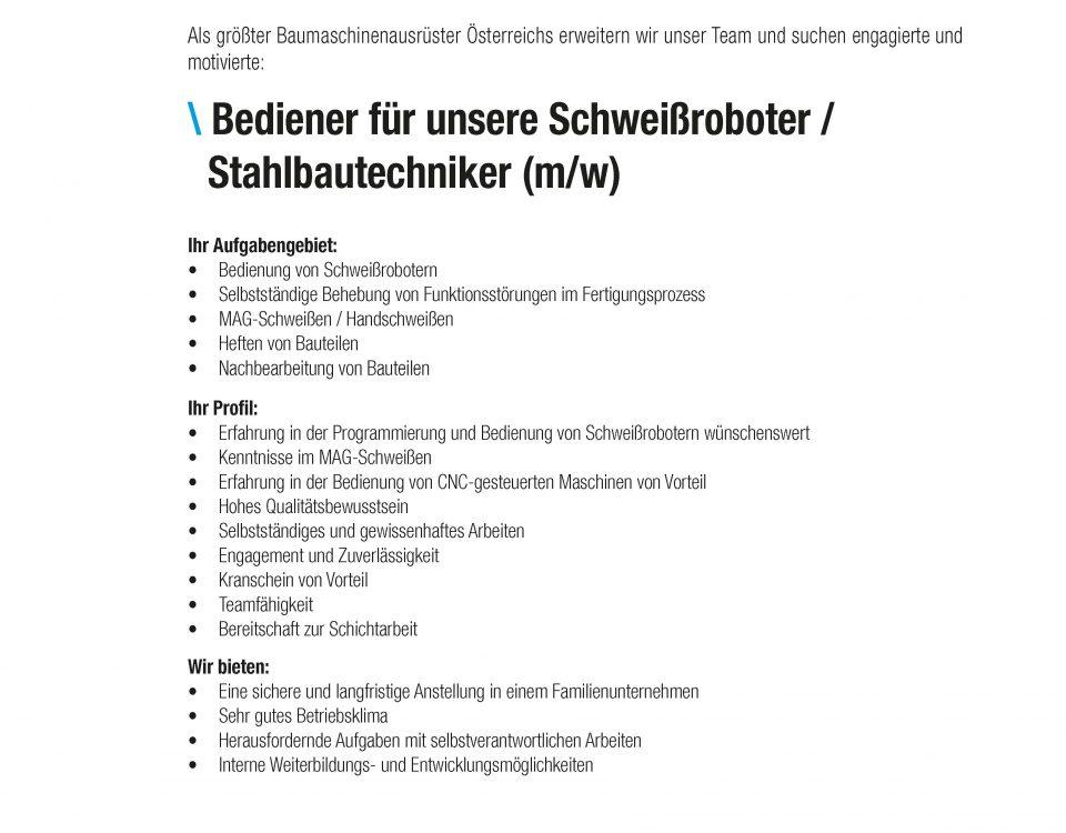 Winkelbauer GmbH, Baumaschinenausrüstung, Wear Parts, Stelleninserate, Stellenausschreibung, Bediener Schweißroboter, Stahlbau, Stahlbautechnik