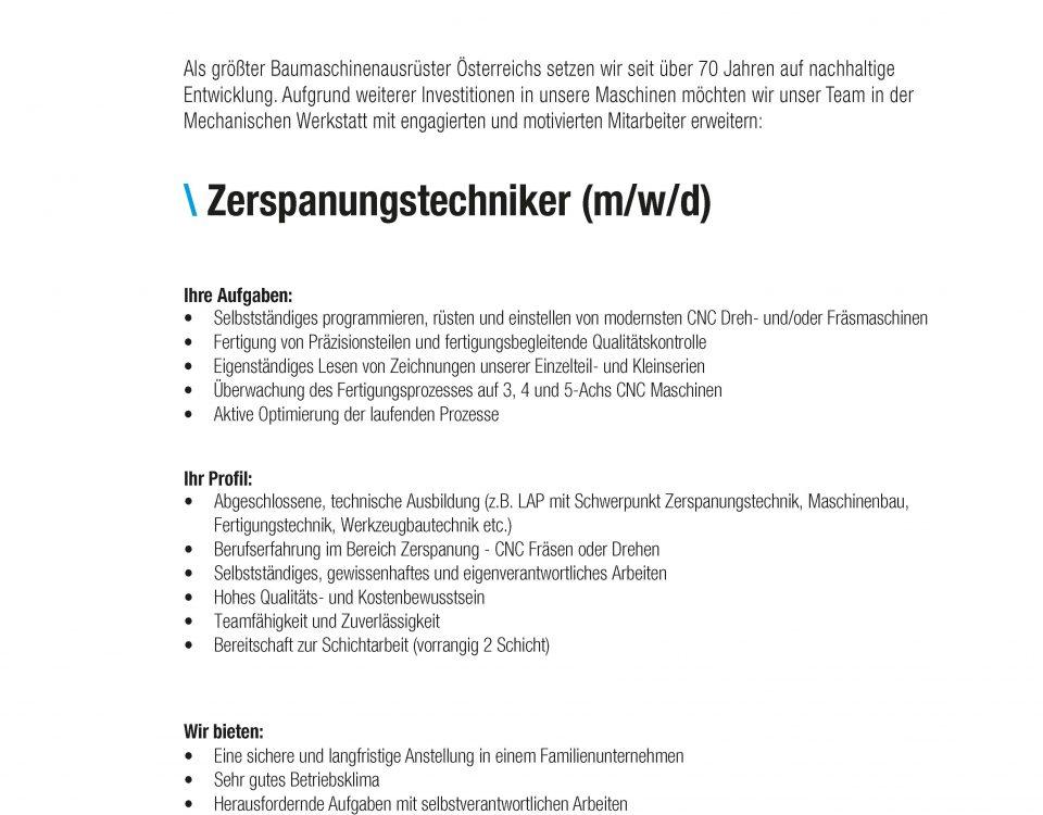 Winkelbauer GmbH, Baumaschinenausrüstung, Wear Parts, Stelleninserate, Stellenausschreibung, Zerspanungstechnik, Zerspanung