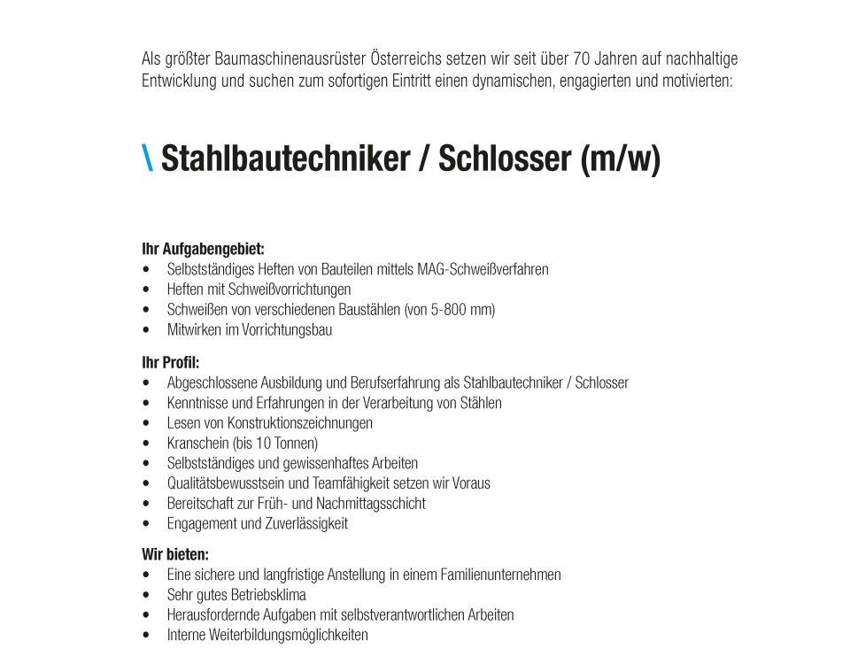 Stahlbautechniker - Schlosser, Winkelbauer GmbH