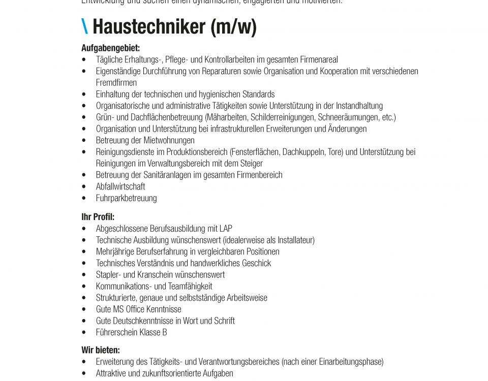Winkelbauer GmbH, Haustechniker, Stelleninserat