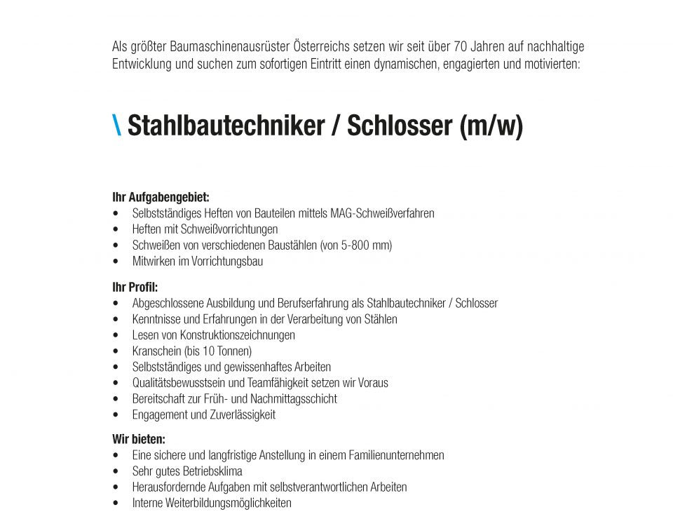 Winkelbauer GmbH, Stahlbautechniker, Stelleninserat