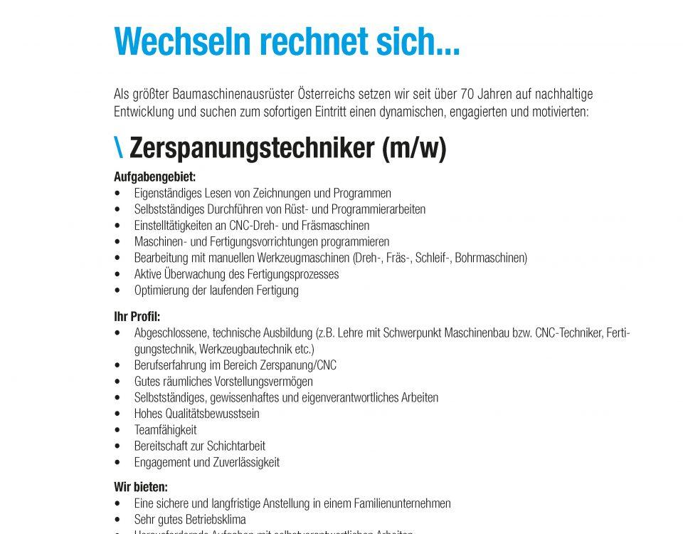 Winkelbauer GmbH, Zerspannungstechniker, Stelleninserat