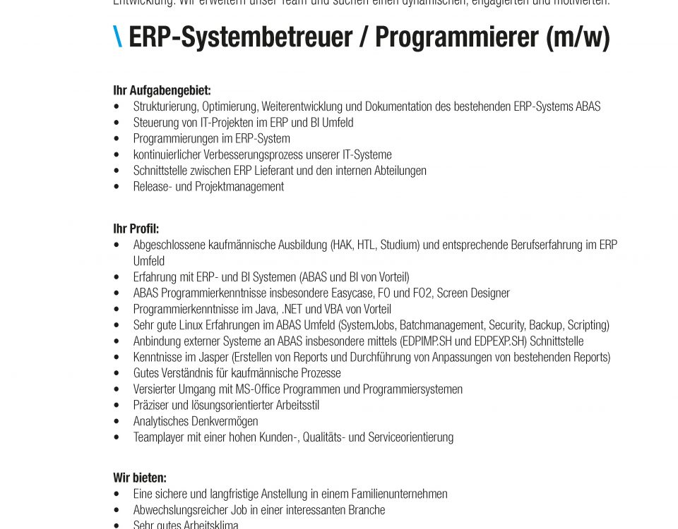 Winkelbauer GmbH, ERP Systembetreuer, Stelleninserat