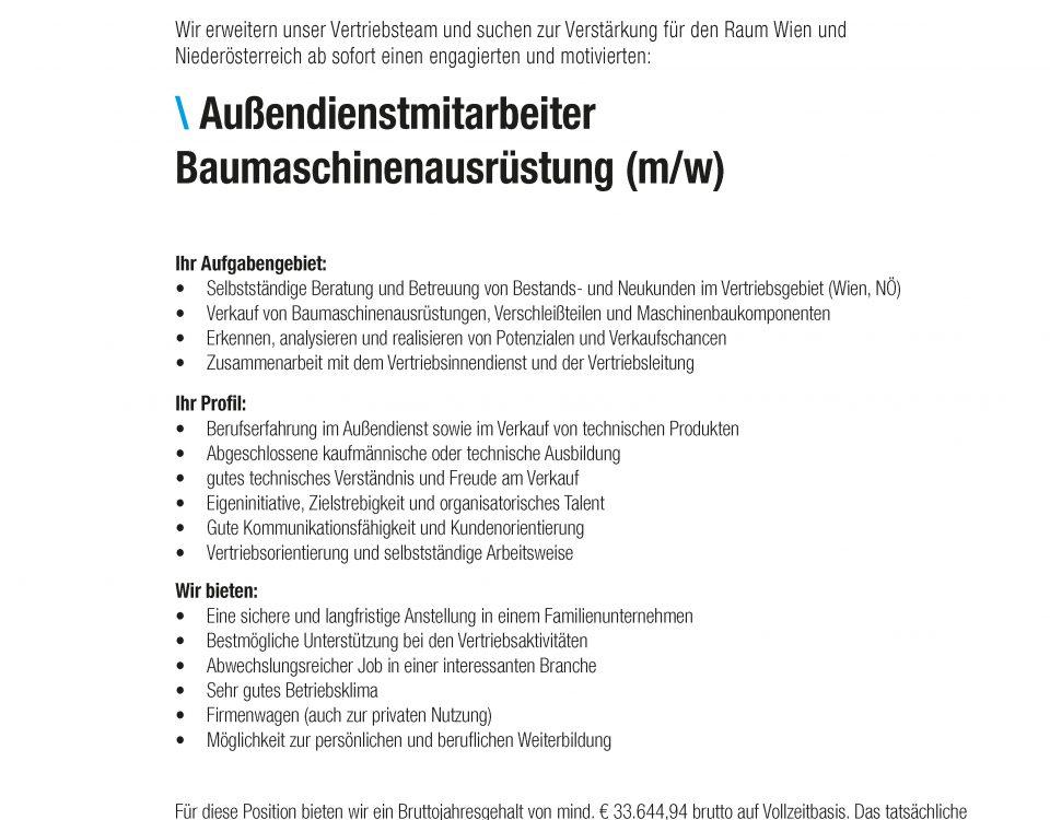 Winkelbauer GmbH, Stelleninserat, Außendienstmitarbeiter