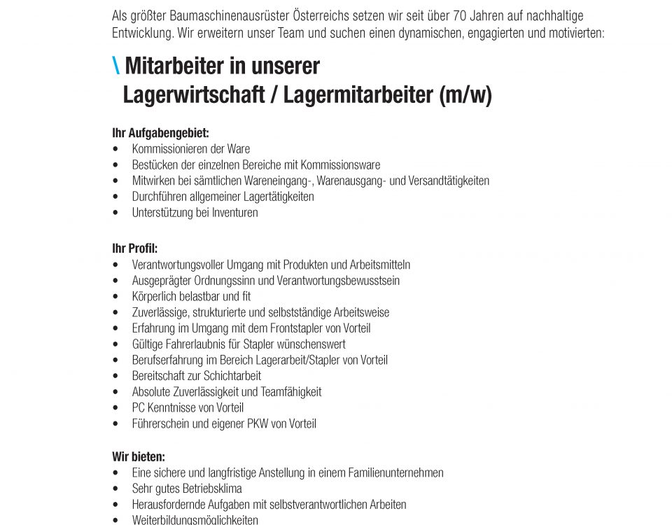 Winkelbauer GmbH, Stellenanzeigen, Lagermitarbeiter