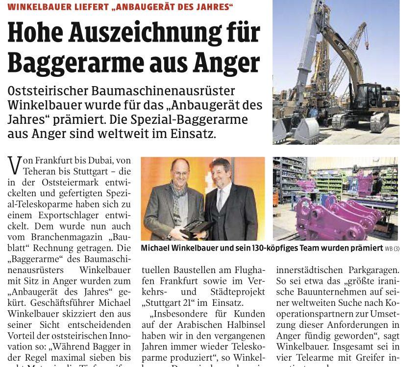 Winkelbauer GmbH, Baumaschinenausrüstung, Teleskoparme, Kleine Zeitung