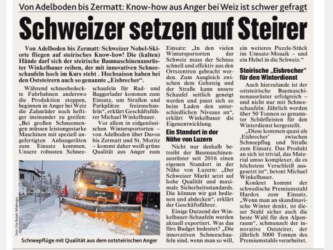 Winkelbauer GmbH, Kronen Zeitung, Baumaschinenausrüstung, Schneeschaufeln