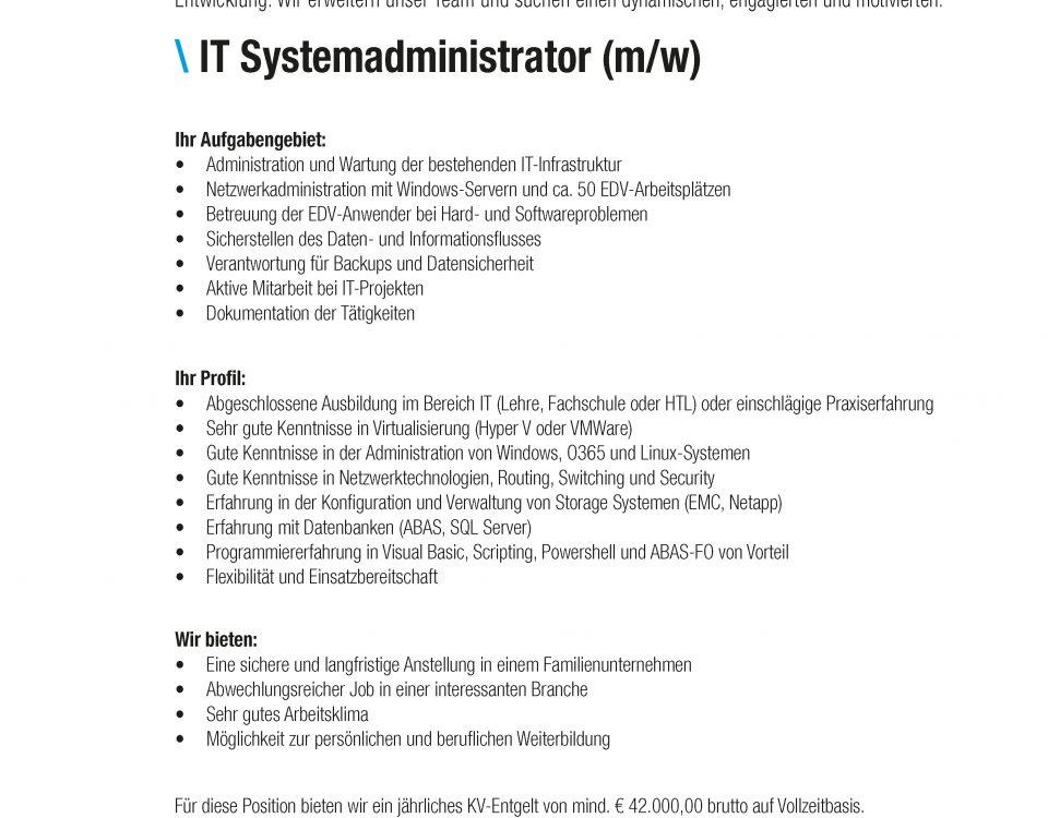 Winkelbauer GmbH, Baumaschinenausrüstung, Stellenangebot, Systemadministration