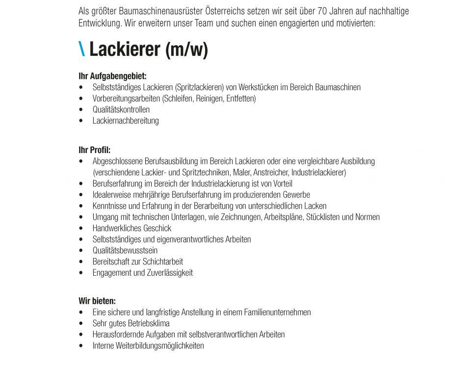 Winkelbauer GmbH, Baumaschinenausrüstung, Anbaugeräte, Lackierer, Stellenangebot, Stelleninserat