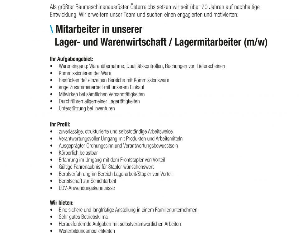 Winkelbauer GmbH, Baumaschinenausrüstung, Anbaugeräte, Lagermitarbeiter, Lager- und Warenwirtschaft, Stellenangebot, Stelleninserat
