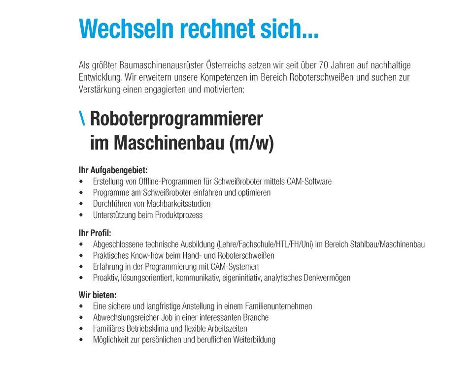 Winkelbauer GmbH, Baumaschinenausrüstung, Anbaugeräte, Roboterprogrammierer, Stellenangebot, Stelleninserat, Anger