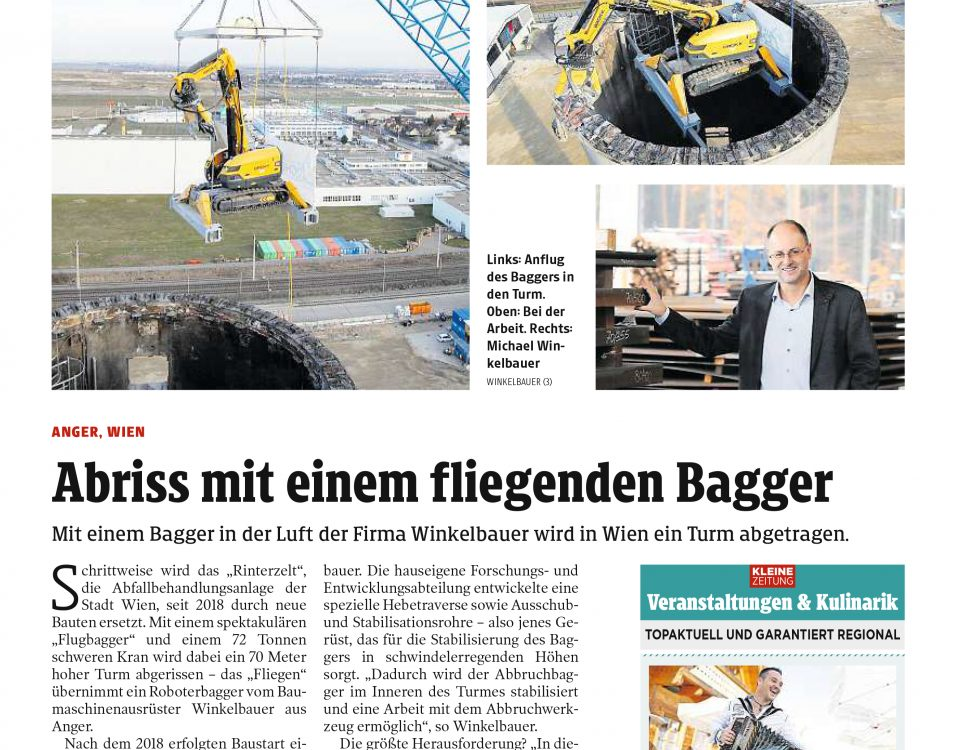 Winkelbauer GmbH, Baumaschinenausrüstung, Anbaugeräte, Ideenschmiede, Clipping, Kleine Zeitung, fliegender Bagger