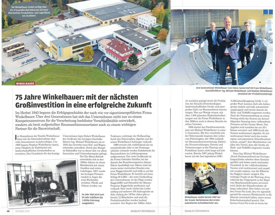 Winkelbauer GmbH, Baumaschinenausrüstung, Anbaugeräte, 75 Jahre, Baublatt