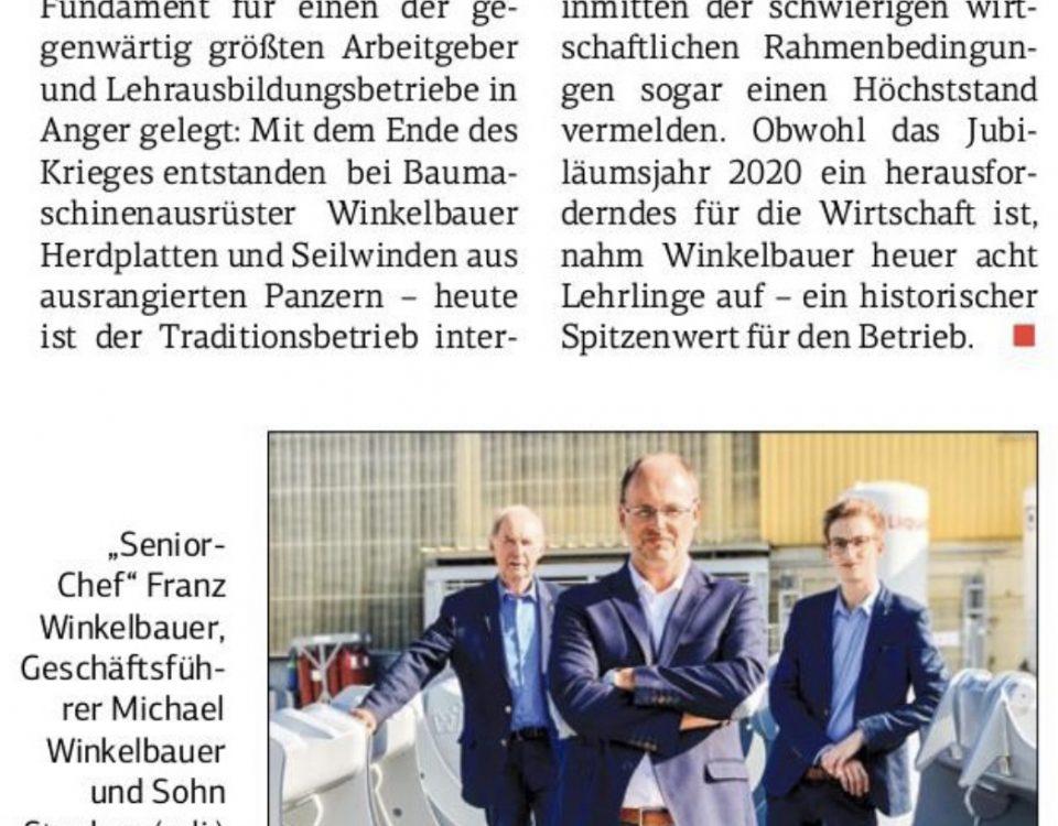 Winkelbauer GmbH, Baumaschinenaurüstungen, Anbaugeräte, Jubiläumsjahr