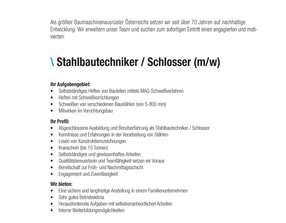 Winkelbauer GmbH, Baumaschinenausrüstung, Anbaugeräte, Wear Parts, Ideenschmiede, Stelleninserat, Jobangebot, Stahlbautechniker, Schlosser