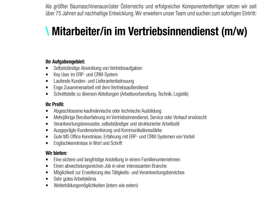 Winkelbauer GmbH, Baumaschinenausrüstung, Anbaugeräte, Stelle, Stellenbeschreibung, Vertriebsinnendienst