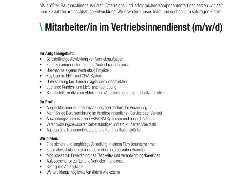 Winkelbauer GmbH, Anger, Baumaschinenausrüstung, Anbaugeräte, Wear Parts, Komponentenfertigung, Ideenschmiede, Stelle, Mitarbeiter im Vertriebsinnendienst